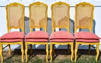 4 French Provencal Carved & Caned Dining Chairs