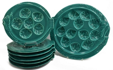 (7) FRENCH TURQUOISE GLAZED OYSTER SERVICE