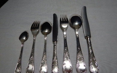 92 piece Louis XIV cutlery for 12 people - Silverplate