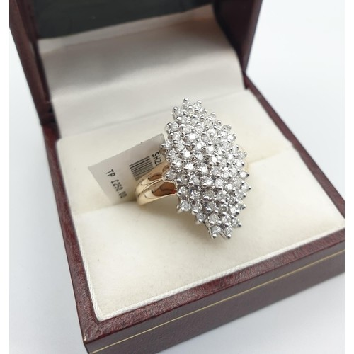 9ct yellow gold ring with diamond cluster, size P weight 5.4...