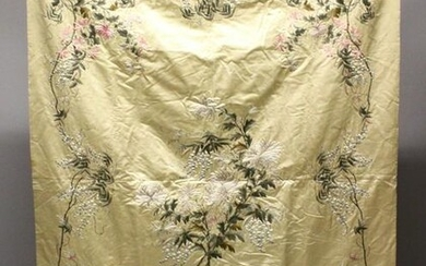 A 19TH CENTURY CHINESE EMBROIDERED SILK PANEL OF FLORA