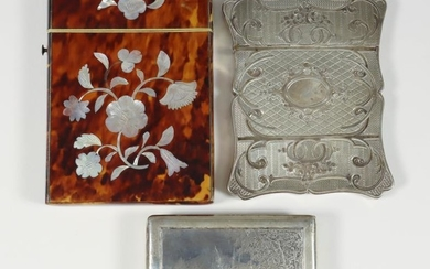 A 19th Century French Silver Rectangular Card Case, of...