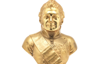 A 19th century Italian gilt bronze portrait bust of the Duc de Beri