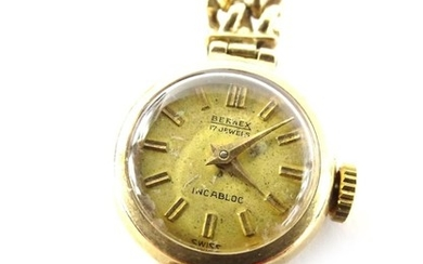 A 9ct gold Bernex wristwatch, on integral belcher link brace...