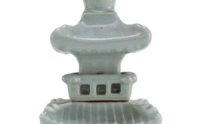 A CHINESE CELADON PAGODA SCULPTURE 20TH CENTURY.