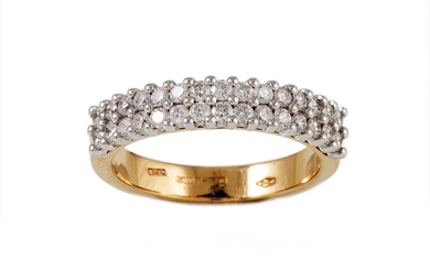 A DOUBLE ROW HALF ETERNITY DIAMOND RING, of approx. 0.65ct i...