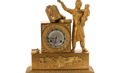 A French late Empire gilt mantel clock adorned with female figure with child, dial with Roman numerals. Paris, early 19th century. H. 33 cm. W. 24 cm. D. 10 cm.