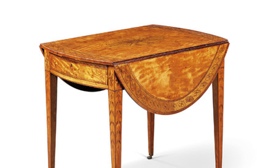 A GEORGE III SATINWOOD, SYCAMORE, TULIPWOOD AND MARQUETRY PEMBROKE TABLE, CIRCA 1780, IN THE MANNER OF INCE AND MAYHEW