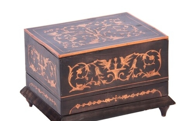 A LATE 19TH/EARLY 20TH CENTURY EBONIZED AND MARQUETRY INLAID...