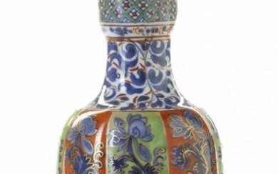 A LATER-ENAMELLED CHINESE BLUE AND WHITE HOOKAH BASE