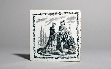 A Liverpool delftware tile c.1757-61, printed by John...