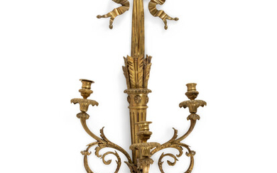 A Louis XVI Style Gilt and Patinated Bronze Three-Light Wall Sconce