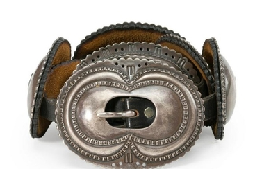A Navajo First Phase silver concho belt