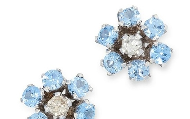 A PAIR OF BLUE TOPAZ AND DIAMOND CLUSTER STUD EARRINGS