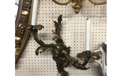 A PAIR OF BRONZE TWO BRANCH WALL SCONCES OF ROCOCO STYLE. (5...