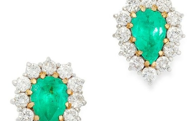 A PAIR OF EMERALD AND DIAMOND CLUSTER EARRINGS each