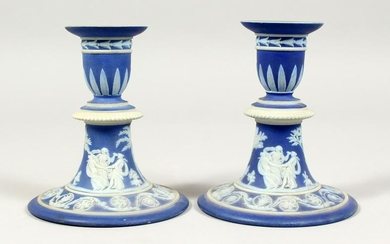 A PAIR OF WEDGWOOD BLUE AND WHITE JASPER WARE CIRCULAR