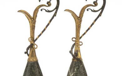 A Pair of Continental Marble and Partial Gilt Bronze Mounted Ewers with Griffin-Form Handles (late 19th-early 20th century)