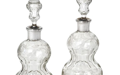 A Pair of French Silver-Mounted Engraved Glass Decanters, The Mounts...