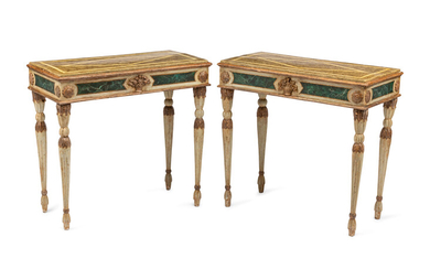 A Pair of Italian Faux Marble Painted Console Tables