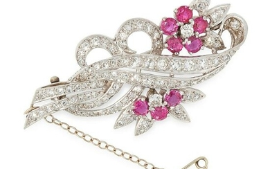 A RUBY AND DIAMOND BROOCH, CIRCA 1950 in 18ct white