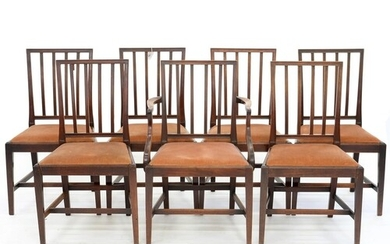 A SET OF SEVEN MAHOGANY DINING CHAIRS, INCLUDING ONE ELBOW C...