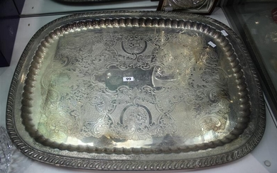 A SILVER PLATED TRAY