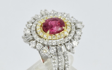 A SPINEL AND DIAMOND DRESS RING