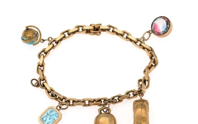 A bracelet of 14k gold set with five charms partly set with enamel and glass,...