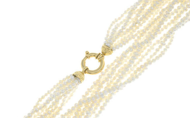 A cultured pearl multi-row necklace.