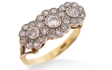 A diamond triple cluster ring, set with three graduated old circular-cut diamonds within a surround of single-cut diamonds in platinum and gold, size N