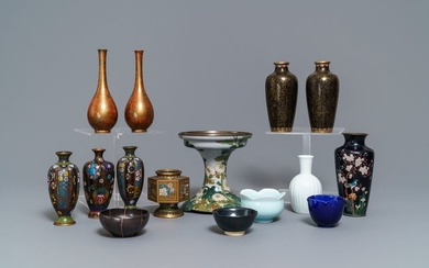 A large collection of Japanese cloisonné and studio...