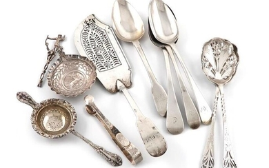 A mixed lot of silver flatware, various dates and makers, comprising: a George IV Fiddle pattern fish slice, four tablespoons, a pair of pierced fruit serving spoons, a pair of tongs, a tea strainer and a Dutch spoon, (handle damaged), approx. weight...