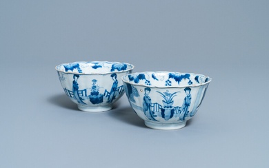 A pair of Chinese blue and white 'Long Eliza' bowls, Chenghua mark, Kangxi