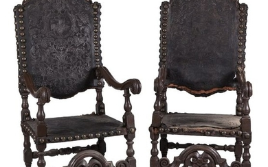 A pair of Portuguese leather upholestered chairs, 17th...