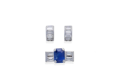 A sapphire and diamond bracelet link, and two further diamond links
