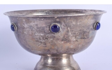 AN ARTS AND CRAFTS WHITE METAL AND LAPIS GLASS BOWL. 10 oz. ...