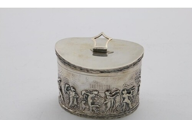 AN EARLY 20TH CENTURY NAVETTE-SHAPED TEA CADDY with a curved...