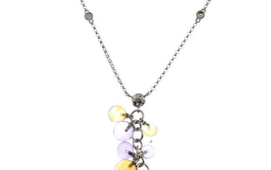 An 18ct gold amethyst and citrine pendant, on the diamond accent chain.