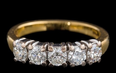 An 18ct gold and diamond five-stone ring: set with round, br...