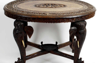 An early 19th century carved hardwood Anglo-Indian occasional table.