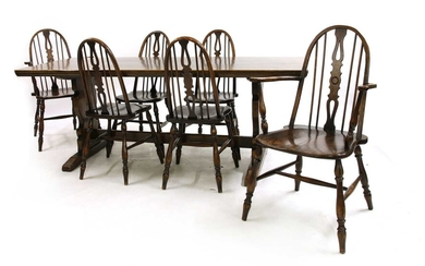 An oak refectory style table