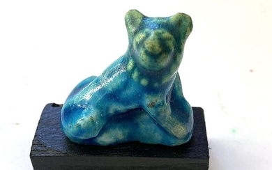 Ancient Egyptian Faience Figure of a Seated Lion Attachment
