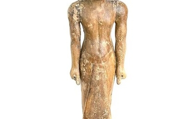 Ancient Egyptian Wood Funerary Figure of a Standing Man - 67 cm Tall *without base