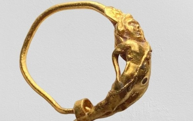 Ancient Greek, Hellenistic Gold Stunning Eros Earring.A fascinating example of the most spectacular period for the ancient jewellery