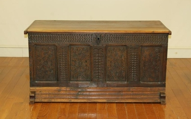 Antique English Carved Oak Chest