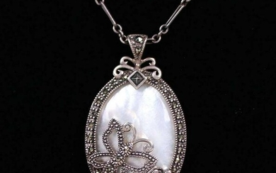 Arts & Crafts Silver Mother-of-Pearl Butterfly Necklace