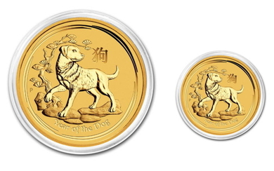 Australia - 5 & 15 Dollars 2018 Year of the Dog (2 coins) - 1/20oz + 1/10oz .999 - Gold