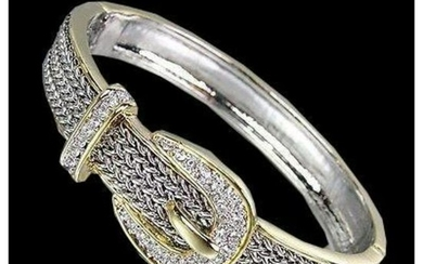 Balinese Silver, Gold & Crystal Buckle Cuff Bracelet