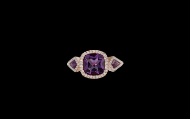 A Brilliant and Amethyst Ring